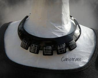 Black and white bib necklace