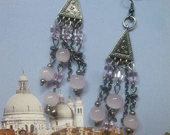 Long earrings boho chic black metal and pink beads