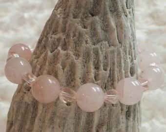 Rose quartz and crystal beaded bracelet