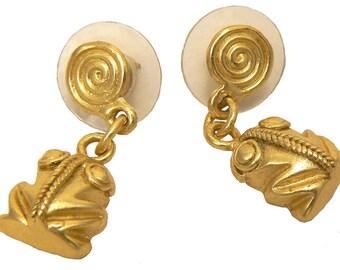 24K GP Precolumbian earrings frogs AD045