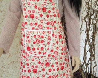 Apron with red flowers Shabby chic