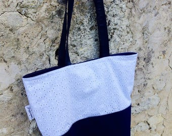 Bag of raw denim and embroidery English