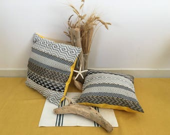 Yellow and gray pillow cover