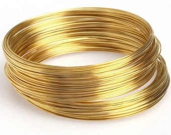 100 turns of memory bracelet 60x0.6 cm gold wire