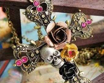 Stunning rare pendant with a cross Skull and rose 7 cm