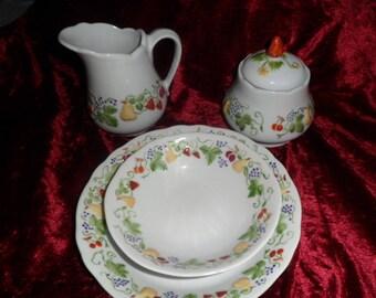 plate milk jug and sugar bowl set
