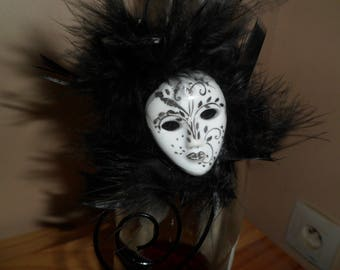 February challenge Carnival mask black and white and black feathers