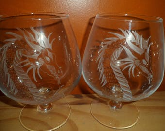2 glasses with etching on glass dragons customizable cognac