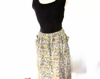 L 40s 50s Day Dress Cotton Deco Atomic Print Floral Novelty Print Gold Grey Yellow Black House Large