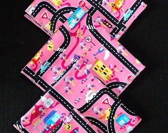 "SET of 5 handkerchiefs in fabric ""card traffic"" 27 x 27 cm"