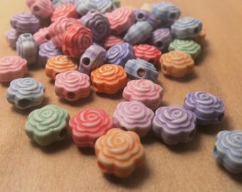 40 BEADS 8MM MULTICOLOR FLOWERS