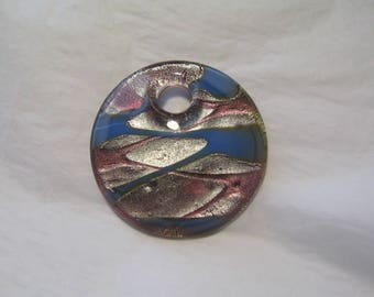 Pendant, large round Pearl, glass, 50 mm, blue, silver, old pink.