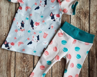 Baby summer dress and leggings French Bulldog size 68