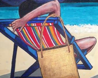 Holiday seaside acrylic painting, beach, sun lounger