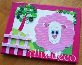Table decoration for sheep child pink under the tree