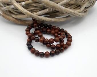 10 pearls gemstones round 6 mm Brown/Black tones