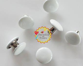 10 x handles clip color-white metal nail rivets