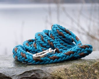Paracord dog leash, dog lead, blue and brown