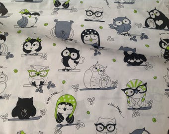 Owls print fabric