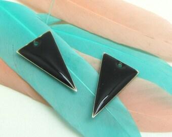 Set of 2 sequin black enamel Triangles - 22 * 13 mm