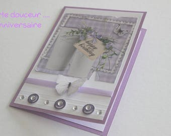Purple tones hand made birthday card