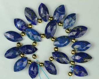 18 Piece faceted Marquise Lapis Lazuli Briolette Beads, 4 x 7 x 14 -- 3 x 8 x 15 mm approx [ T 14]