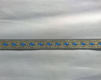 Metallic woven braid, gold/blue 12m length