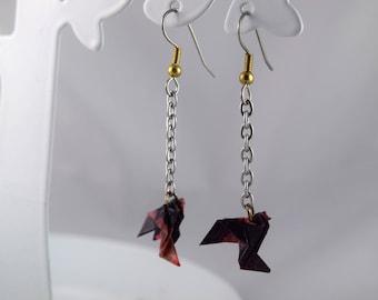Origami earrings small swarovski crystal Dove