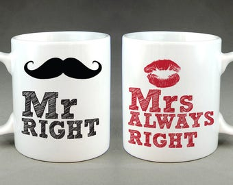 Mr Right/ Mrs Always Right Matching Mug Set for Husband and Wife