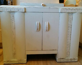 Vintage Hand Painted Shabby Chic Sideboard