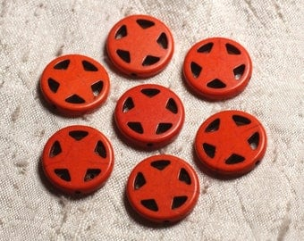10pc - synthetic Turquoise beads Circle Star 20mm Orange 4558550011657