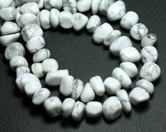 10pc - stone beads - Howlite pebbles 10-15mm - 8741140008502