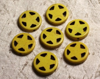 10pc - synthetic Turquoise beads Circle Star 20mm yellow 4558550011701