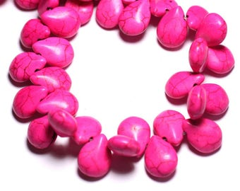 20pc - beads Turquoise drops 16 mm Rose 4558550031389 synthesis