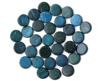 20pc - 10-11mm blue green 4558550001191 pucks coconut wood beads
