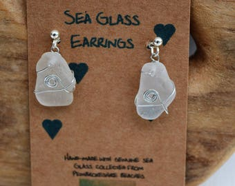 Handmade sea glass earrings