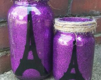 Eiffel Tower mason jar tea light holder set with FREE SHIPPING