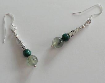 Phrenite Malachite - Ellaria Collection earrings