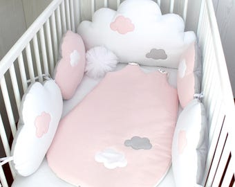 Baby cot bumpers for 70cm wide bed, 5 cloud cushions or pillows, pale pink, white and grey