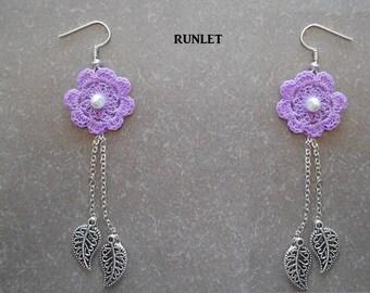 cotton crochet Flower Earrings! rigid. beads