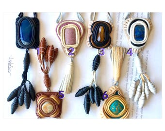 Pagan necklace natural stone leather,reiki crystal,magic stones,tiger's eye,agate,lazurite, turquoise,rhodonite,onyx,healing crystals