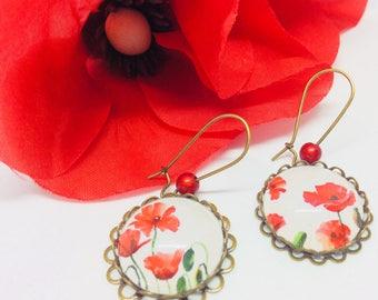 Earrings dangle poppy cabochon