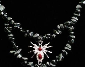 necklaces red chips widow black hematite