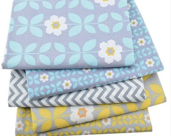 Set of 5 fabrics patchwork yellow and blue