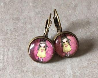 Little girl - earrings sleepers bronze cabochon glass 12mm
