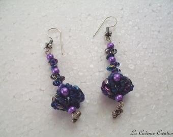 Earrings purple - support argenté - pierced ears