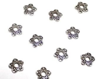 Flowers 12 mm X 10 pieces antique silver metal bead caps