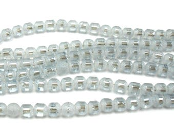 30 glass 4 mm frosted and metallic gray beads