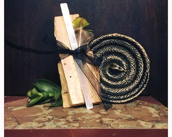 Palo Santo and Selenite Meditation Smudge Bundle Home Smudge Kit with Brass Snake Dish Gift Set