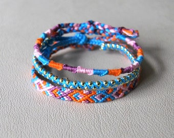 Trio of bracelets colorful blue purple orange pink 3 matching bracelets bangles hippie woman Brasilda